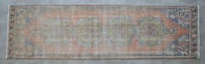 Faded Hand Knotted Oushak Runner Muted Color Turkish Distressed Rug 2 6 X 8 10