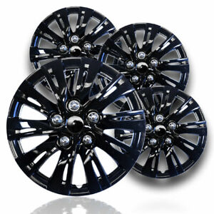 15 Gloss Black Hubcaps Snap On Wheel Covers Fits Steel Rims With R15 Tires
