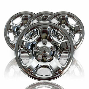4 Chrome 16 Wheel Skins Hub Cap Tire Covers 5 Lug Steel Rim For 02 07 Jeep Libe