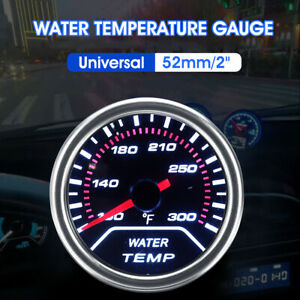 Car Universal 52mm 2 Water Temperature Gauge Meter Smoked Tint Fahrenheit