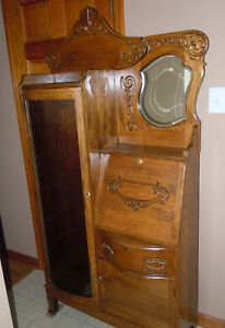 Antique Side By Side Oak Secretary Desk Curio W Curved Glass Door Key Lock