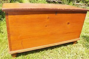 Antique Hand Dovetailed Pine Blanket Chest Turned Feet Trunk Rustic Primitive