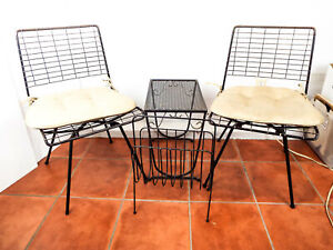 Vintage Mid Century Retro Atomic Age Outdoor Furniture Set Wire Chairs Mcm 1960s