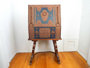 Antique Spanish Revival Mission Style Wooden Portable Bar Cocktail Drink Cabinet