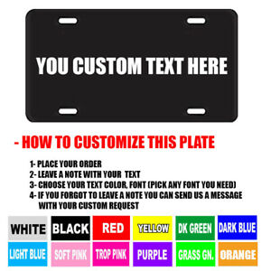 Black Personalized Custom Aluminum License Plate Car Tag Your Name Color