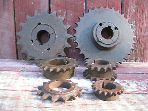 Lot Of 6 Vintage Antique Cast Iron Gears Sprockets Steampunk Industrial