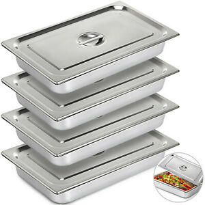 Steam Table Pans Bain marie 4 Pack W cover Lid 8mm Thick Buffet Steam Table