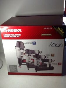 Husky 3 Piece Pneumatic Finishing Nailer Kit Stapler DP3PFNK Nails Staples