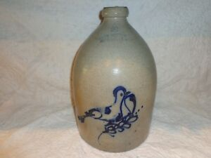 Antique Bird On A Branch Cobalt Blue Decorated Stoneware Pottery Jug 2 Gallon