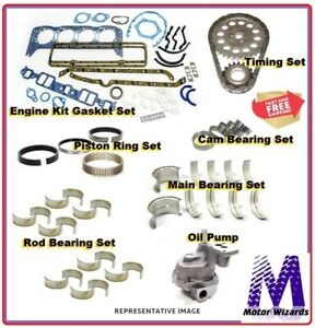 Chevy 350 Corvette Camaro Firebird Engine Rebuild Kit Rings Brngs Opump Timing