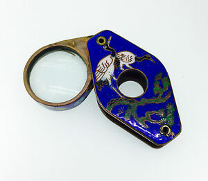 Antique Vintage Magnifying Glass Loupe Magnifyer Enamel Pocket 18 19 Century