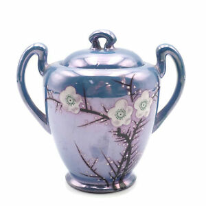 Vintage Japanese Blue Lusterware Cherry Blossoms Pattern Covered Sugar Bowl