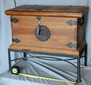 Antique Wooden Chest On Frame Box Primitive Folk Art Wrought Iron Hinges Pine