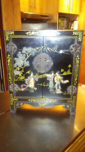 Antique Asian Cabinet Black Hand Painted With Jade Inlay And Brass Fixtures