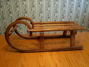 Vtg Antique Rustic Primitive Child S Sled Snow Sleigh Wood Metal Runners Decor