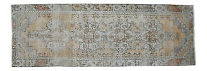 Muted Colors Hand Knotted Turkish Oushak Runner Rug Distressed Rug 2 8 X 7 11