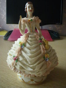 Volkstedt Porcelain Germany In Lace Draped Gown Figurine