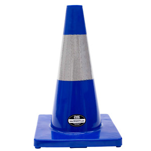 18 Rk Blue Safety Traffic Pvc Cones Blue Base With One Reflective Color