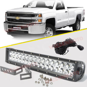 96w Led Light Bar Front Bumper Bracket Kit For 15 Up Chevy Silverado 2500 3500hd
