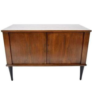 Lacquered Mid Century Danish Style Walnut Nightstand Side Table
