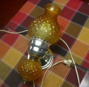 Vintage Hobnail Amber Glass Key Electric Wall Sconce