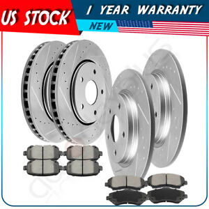 Front Rear Drilled And Slotted Brake Rotors Ceramic Pads For Chrysler Dodge Vw