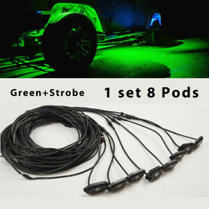 Set 8 Pods Green Led Rock Lights Wiring Harness Control Strobe For Jeep Truck