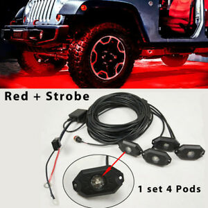 4pcs Red Led Rock Light Offroad Controller Strobe Flash For Jeep Truck Suv