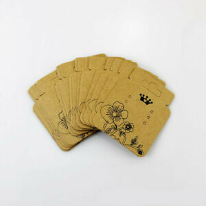 Kraft Paper Jewelry Earring Hanging Display Holder Hang Cards Price Tag 100pcs