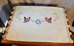 Antique Hand Embroidered Crochet Lace Linen Pillowcase Cover Arts Crafts