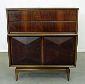 Mid Century Danish Modern United Diamond Front Walnut Tall Chest Dresser