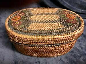 Antique 19th Century Woven Wicker Rattan Hand Painted Sewing Basket Box Lid