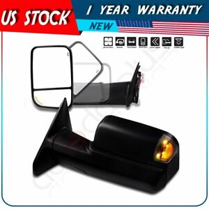 Tow Mirrors Power Heated Turn Signals Puddle For 09 17 Dodge Ram 1500 2500 3500