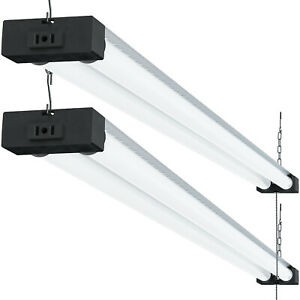 Sunco 2 Pack 4ft 40w Led Industrial Utility Frosted Shop Light 4000k Cool White