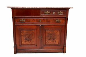 Gorgeous Antique French Country Mahogany Buffet Sideboard Granite Top On Rollers