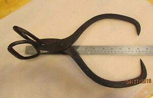 Antique Ice Tongs Block Cast Iron Hand Forged Hay Carrier Hooks Vintage Farm