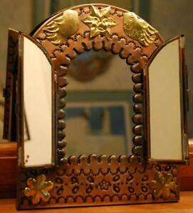 Mexico Folk Art Nicho Mirror Tri Fold 3 Panel Punched Tin Brass Sun Birds 8 5