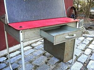 Vintage Metal Childs School Desk With Lift Up Blackboard And Front Drawer Look