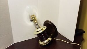Vintage Red Glass Wall Mounted Sconce Light Fixture Electric Brass Plated