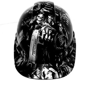 Hard Hat Custom Hydro Dipped grim Reaper Shooter Steel Grey Osha Approved