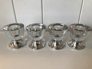 Set Of 4 Vintage Frank M Whiting Sterling Silver Glass Candle Holders