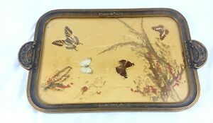 Art Deco Butterfly Tray With Real Butterfly S And Dried Flowers Polychrome Paint