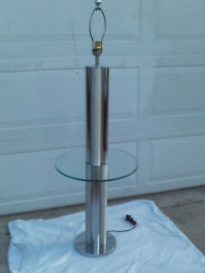 Vintage Mid Century Chrome Brushed Metal Floor Lamp Glass Table