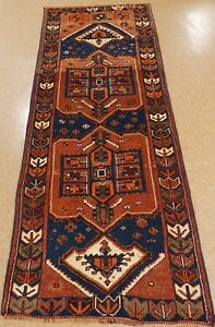 Persian Rug Runner Qashqai Tribal Hand Knotted Wool Rust Oriental 3 9 X 10 5