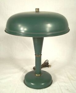 Mid Century Modern Atomic Mushroom Industrial Flying Saucer Green Tin Lamp