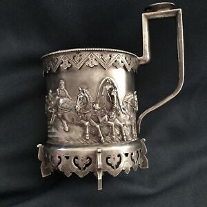 Antique 84 Silver Russian Glass Holder Troyka Silver Skirt On The Bottom Marked