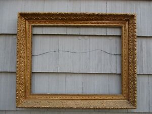 Nice Large Heavy Wide Antique Gesso Wood Picture Frame Fits 21 X 28