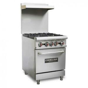 Commercial Kitchen 4 Burner Restaurant Range With Oven 24