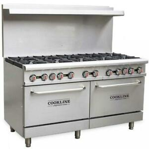 Commercial Kitchen 10 Burner Restaurant Range With Oven 60