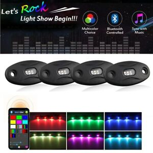 4 Pod Neon Led Rock Light Kit Bluetooth Rgb Underglow For Offroad Car Truck Boat